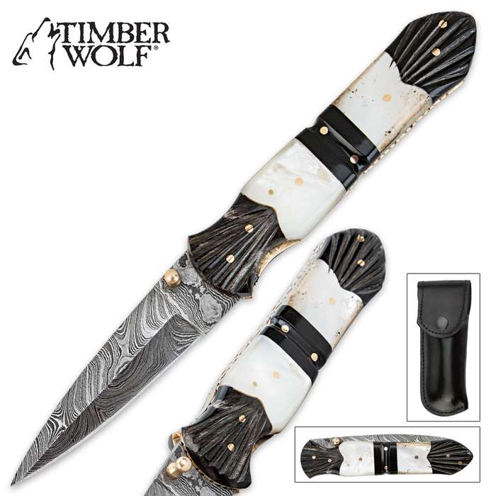 Timber Wolf Damascus Mother of Pearl & Buffalo Horn Folding Pocket Knife