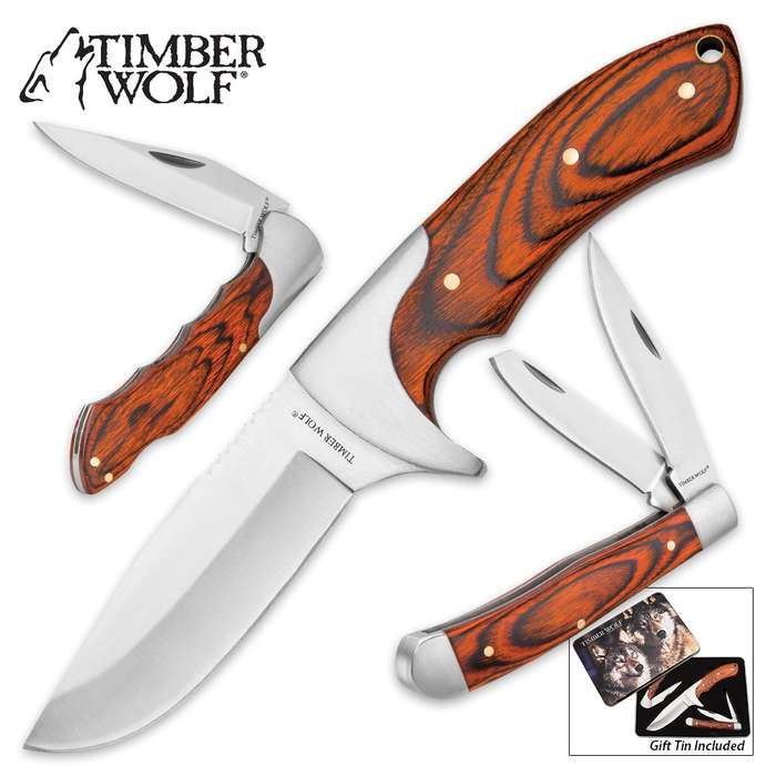 """Timber Wolf """"Leader Of The Pack"""" Knife and Tin Set"""