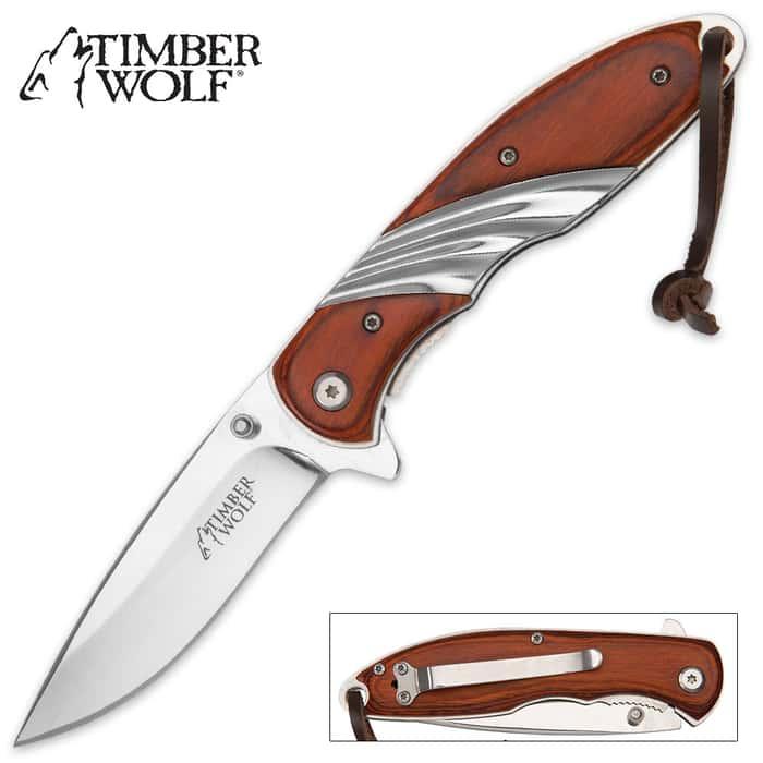 Timber Wolf Brown Pakkawood Pocket Knife