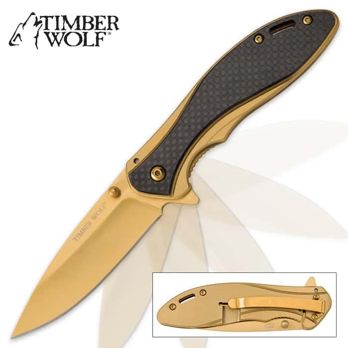 Timber Wolf Gold Titanium Pocket Knife