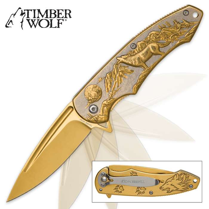 Timber Wolf Moonlight Hunter Assisted Opening Pocket Knife - Gold