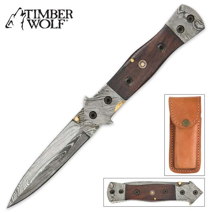 Timber Wolf Arrow Wood Damascus Pocket Knife