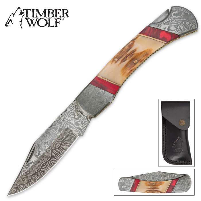 Timber Wolf Filework Stag Bone Pocket Knife