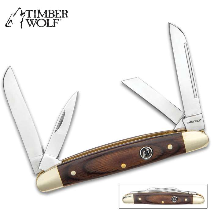 """Timber Wolf Brazilwood Congress Traditional Pocket Knife / Folder - 420 Stainless Steel, 4 Blades  - Exotic Brazilwood - Versatile, Dependable Everyday Carry; Collectible - 3 5/8"""" Closed"""