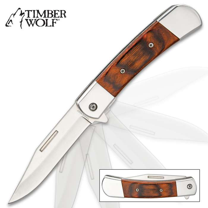 """Timber Wolf American Classic Pakkawood Handle Pocket Knife - Assisted Opening, Stainless Steel Blade, Flipper - Closed 4 1/2"""""""