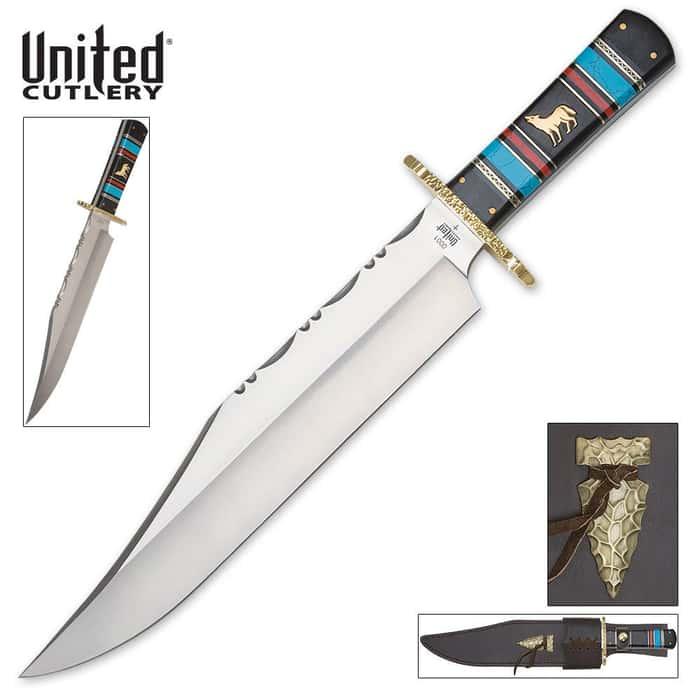 United Cutlery Southwestern Howling Wolf Bowie Knife & Sheath