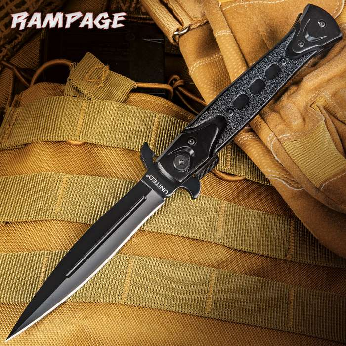 United Cutlery Rampage Assisted Opening Stiletto Pocket Knife - Black