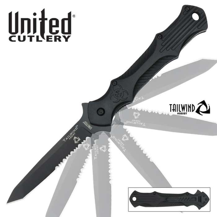 United Cutlery Tailwind Assisted Opening Urban Tactical Stiletto Serrated Edge Pocket Knife