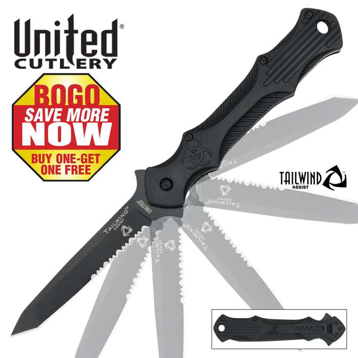 United Cutlery Tailwind Assisted Opening Urban Tactical Stiletto Serrated Edge Pocket Knife 2 for 1