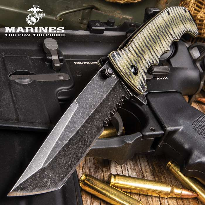 USMC Fallout Assisted Opening Tanto Pocket Knife - 3Cr13 Steel Blade, Grippy G10 Handle, Assisted Opening, Pocket Clip