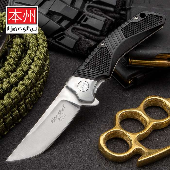 Honshu Sekyuriti Ball Bearing Opening Pocket Knife - 8Cr13MoV Stainless Steel Blade, TPU Handle Scales, Steel Pocket Clip