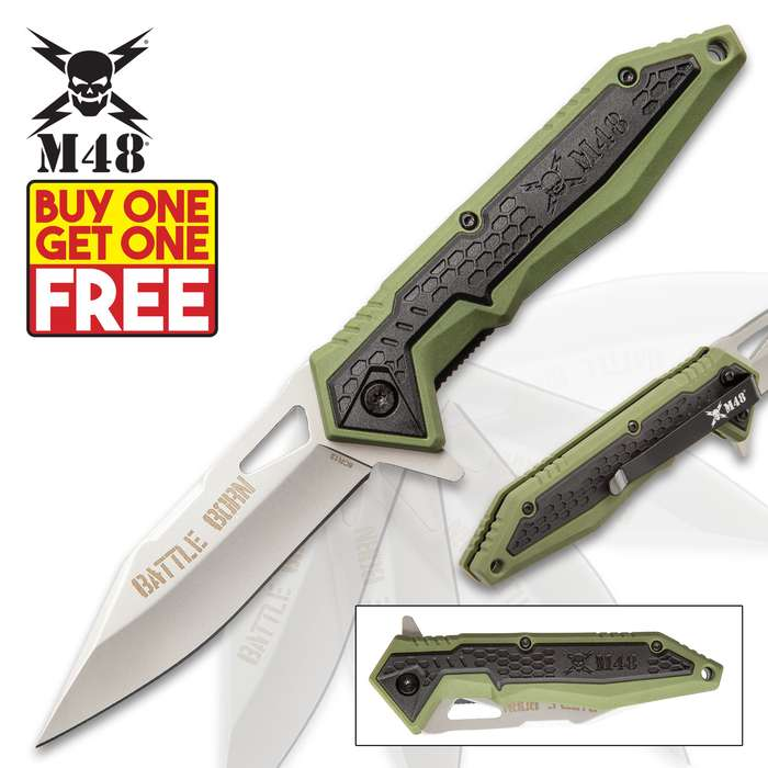 M48 Battle Born Pocket Knife - 8Cr13 Stainless Steel Blade, Olive Drab TPR Handle Scales, Ball Bearing, Pocket Clip - BOGO