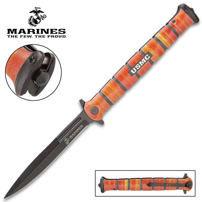 """USMC Colossal Heritage Stiletto Pocket Knife - Stainless Steel Blade, Assisted Opening, Stacked Aluminum Alloy Handle, Glass Breaker - Closed 6 1/4"""""""