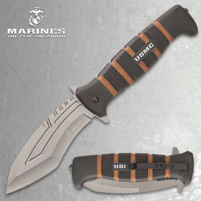 Officially licensed by the United States Marine Corps, the monster-sized USMC Maximum Assisted Opening Pocket Knife is built for hard use and tough missions