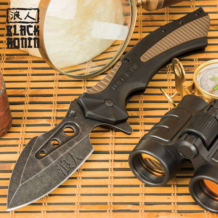 Black Ronin Tsunami Pocket Knife - 3Cr13 Stainless Steel Blade, Assisted Opening, Non-Reflective Finish, ABS And TPR Handle, Pocket Clip