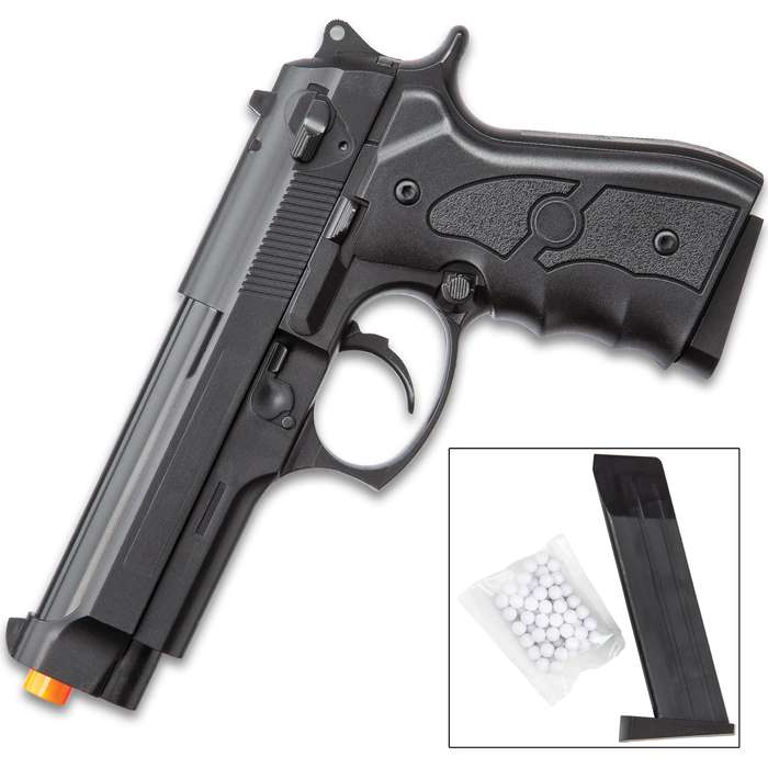M9 Beretta Spring Airsoft Pistol With Lanyard Ring - ABS Polymer Construction, Ergonomic Pistol Grip, 12-Round Magazine
