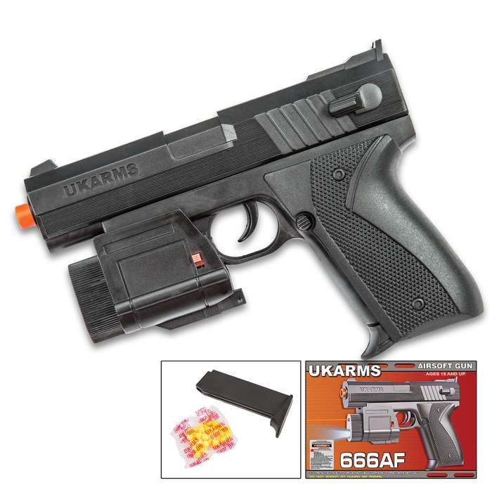 Spring Airsoft Pistol with Laser and Tactical Flashlight - Black