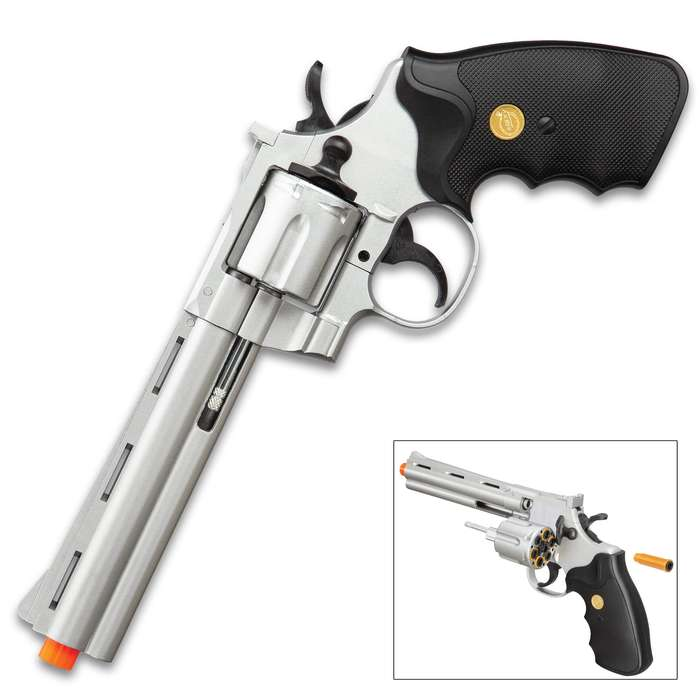 """UKArms .357 Magnum Silver Revolver Airsoft Pistol - Spring Powered, Plastic Body Construction, Realistic Revolver Cylinder - Length 11 1/2"""""""