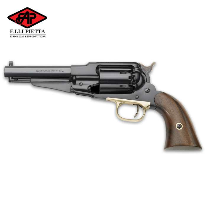 The Pietta 1858 Remington Army Black Powder Pistol replicates one of the most widely used sidearms of the American Civil War