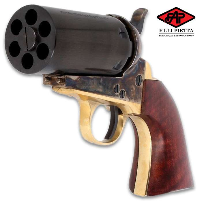 """This is a .36 caliber black powder pistol that shoots directly out of its six-shot, 3"""" cylinder (no barrel)"""