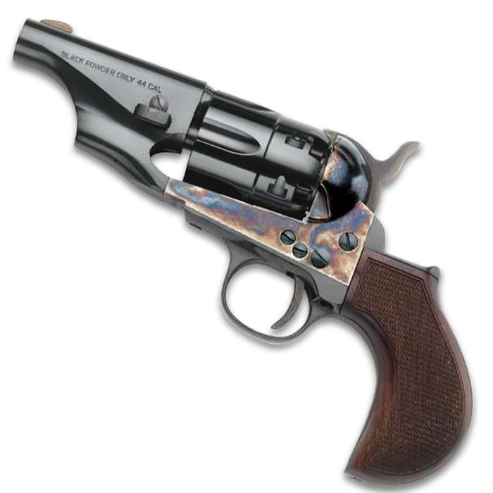Our Replica 1860 Snub Nose Black Powder Pistol has a casehardened steel frame with a checkered wooden express grip