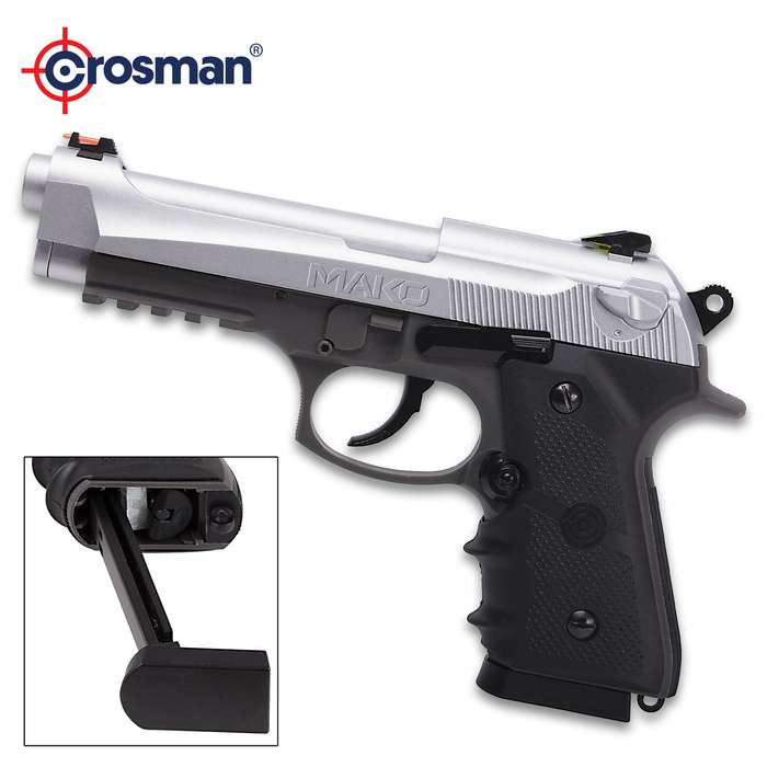 Crosman Mako Semi-Automatic CO2 Powered Air Pistol - Blowback Action, Steel Barrel, Polymer Body, 20-Round Magazine