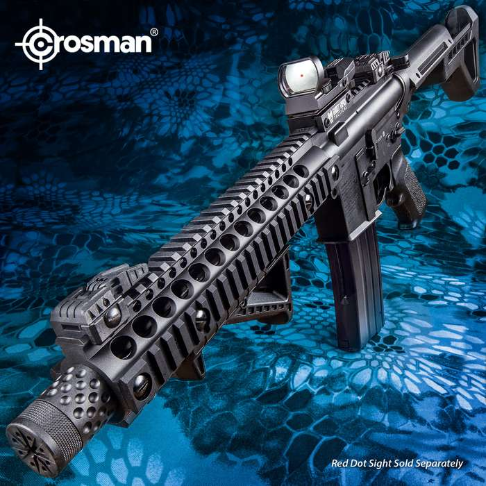 Crosman DPMS SBR Full Automatic Air Rifle - Nylon Fiber Stock, Steel Barrel, Quad Rail, Blowback, Folding BUIS Sights, 430 FPS