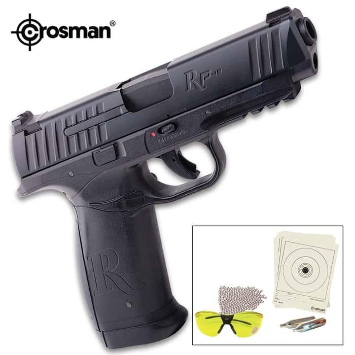 Crosman Remington RP45 CO2 Powered Air Pistol Kit - Steel Barrel, Polymer Frame, Metal Slide, 250 BBs, Safety Glasses, Targets
