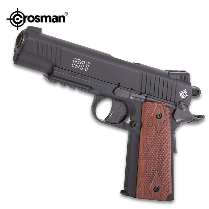 Crosman 1911 CO2 Powered Air Pistol - Steel Barrel, Polymer Stock, Wooden Grips, Six-Shot Rotary Clips