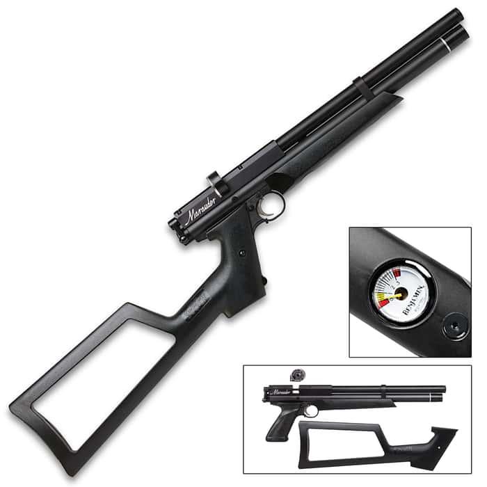 Benjamin .22 Marauder PCP Air Pistol - Rifled Steel Barrel, Synthetic Pistol Stock, Rotary Magazine, Dovetail Mounting Rail