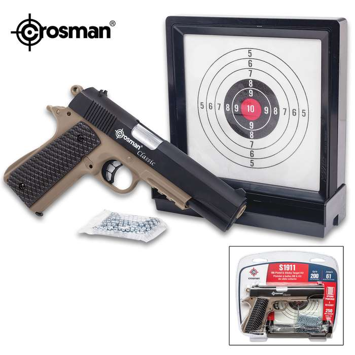 Crosman 1911 Pistol Kit - Spring-Powered, 200 FPS, Picatinny Rail, Magazine, Skeletonized Trigger - Length 8 1/2""
