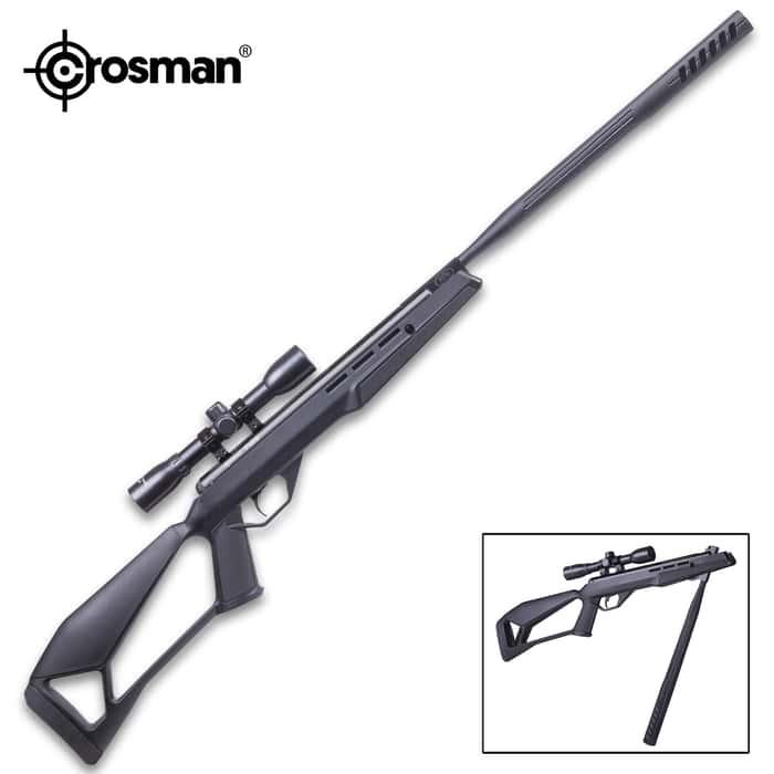 Crosman Fire Air Rifle With Scope - QuietFire Sound Suppression, Nitro Piston, .177 Caliber, Break Barrel, 1200 FPS