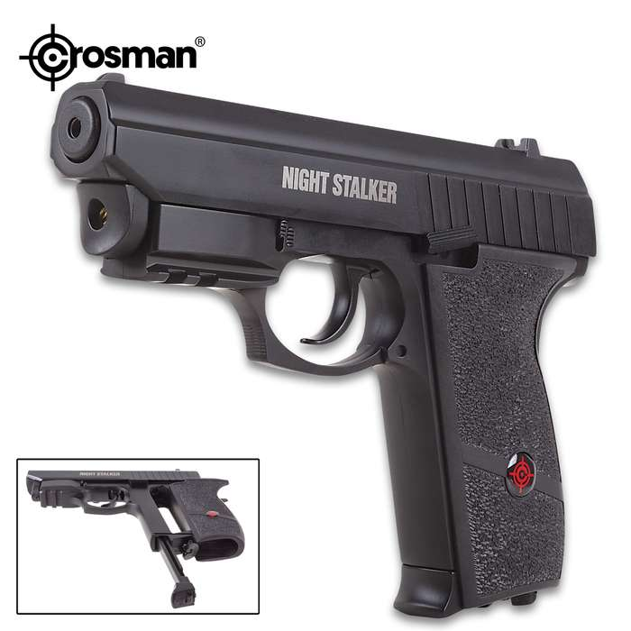 Crosman Night Stalker Air Pistol With Internal Laser Sight - Semi Auto Blowback, CO2 Powered, Full-Metal Construction