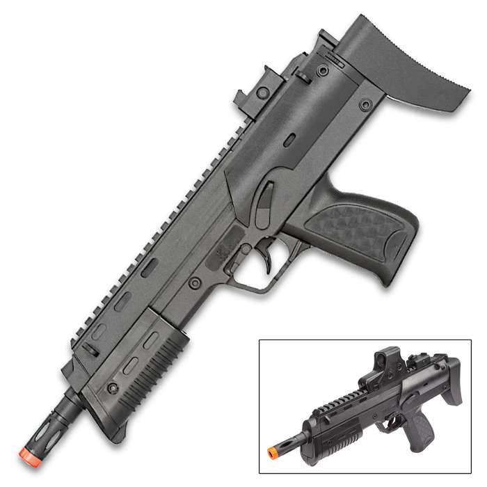 Spring-Powered Uzi Airsoft Gun And Sight With Laser - ABS Construction, Single Shot, Top BB Load, 150 FPS - Length 15""