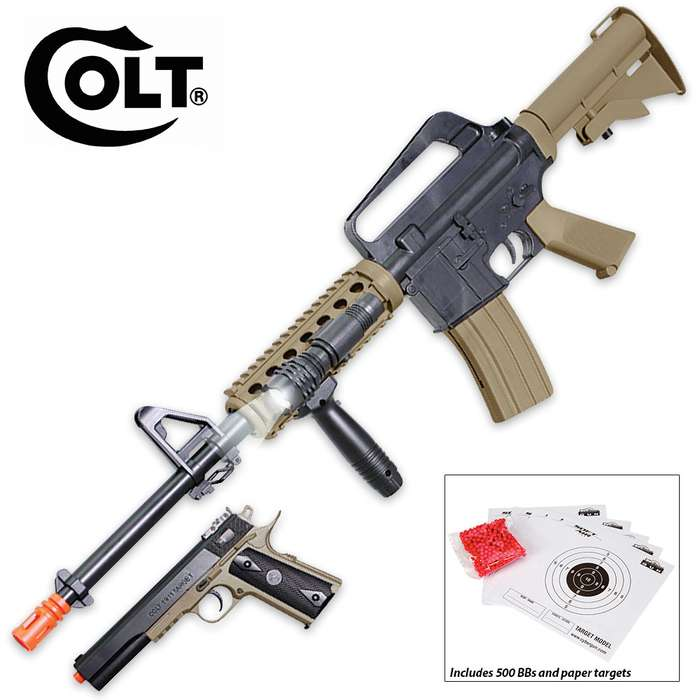 Colt M4/1911 Ops Airsoft Gun Kit - M4 RIS Rifle and 1911 Pistol - 500 Airsoft BBs - Accessories