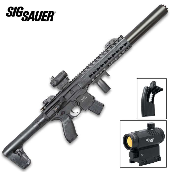 """Sig Air MCX Black Air Rifle With Micro Red Dot Sight - Synthetic Stock, 30-Round Pellet Magazine, 700 FPS - Length 34 3/4"""""""