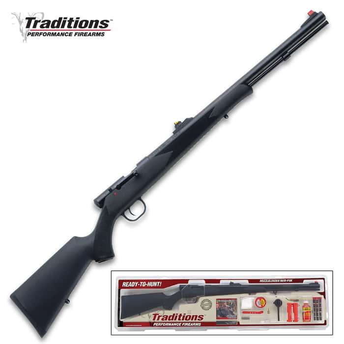 "Tracker Muzzleloader Rifle Redi-Pak - .50 Caliber, 209 Ignition System, Synthetic Stock, Blued Rifled Steel Barrel, Adjustable Sights - Length 24"""