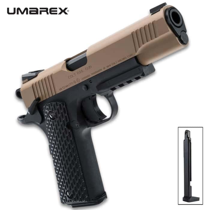 Colt M45 CQBP .177 Air Gun - Polycarbonate Frame, Metal Slide, CO2 Powered, 400 FPS, 19-Round Magazine, Picatinny Rail