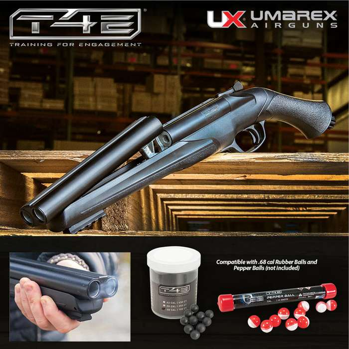 The Umarex T4E HDS Double-Barrel Shotgun .68 Caliber Paintball Marker is a home-defense weapon that combines power and speed.