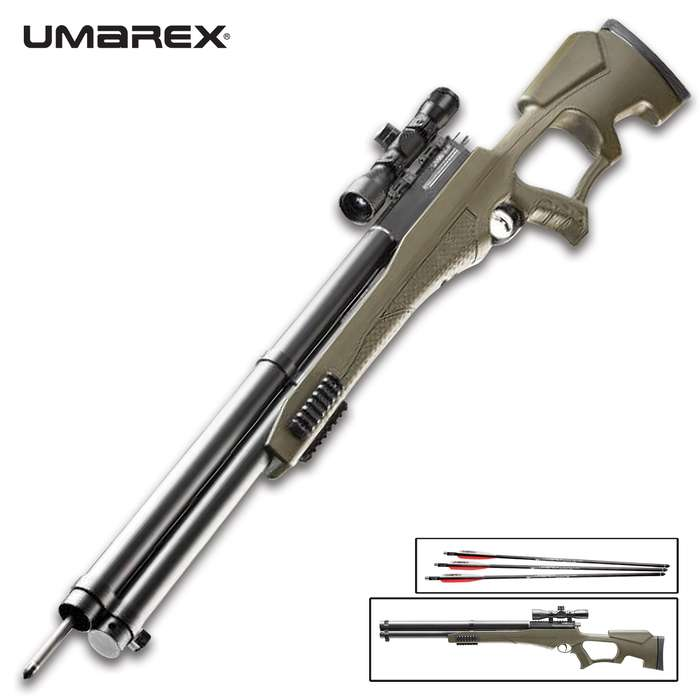 The Umarex AirSaber airbow uses high-pressure air and a special arrow to achieve velocities up to 480 fps and 178 ft-lbs of energy