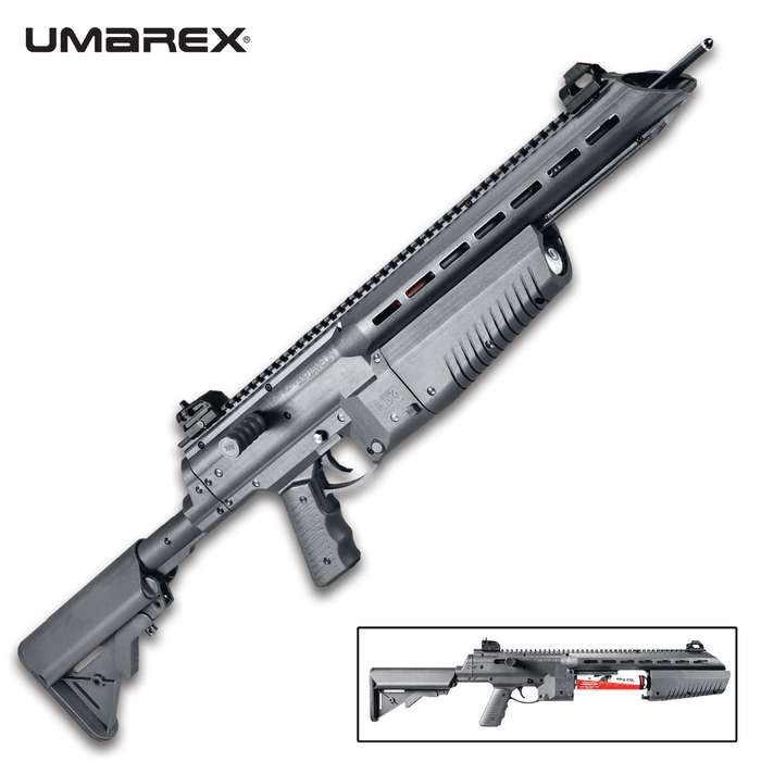 The Umarex AirJavelin CO2 powered arrow gun is an easy-to-use arrow launching gun that's great fun for the whole family