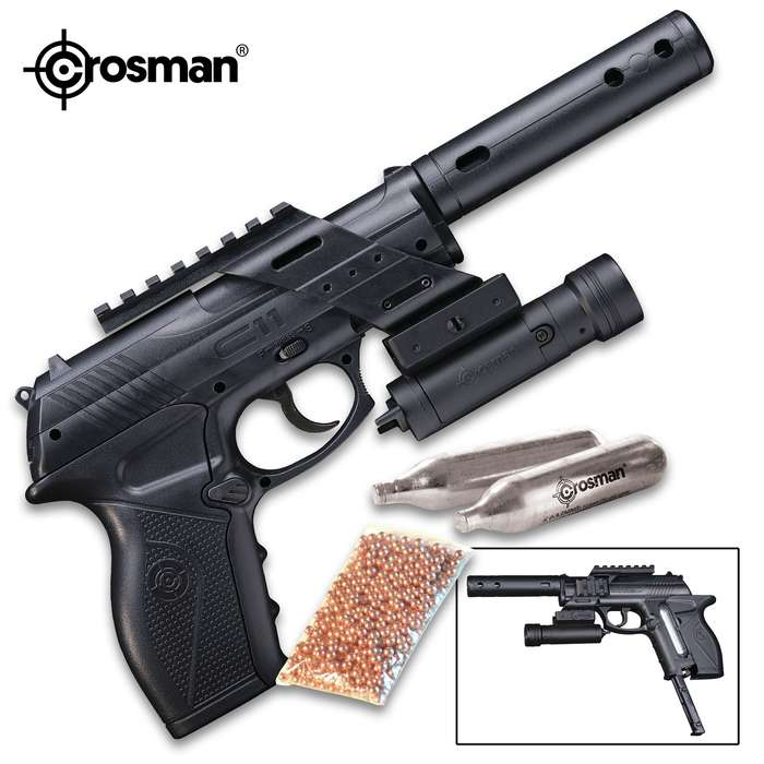 The Crosman C11 Semi-Automatic Tactical Pistol Kit has everything to start shooting right out of the box
