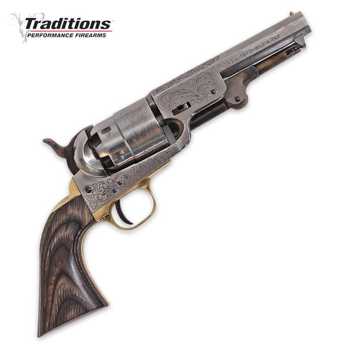 Traditions Firearms .44 Caliber 1851 Navy Sheriff Black Powder Revolver - Steel Hardware, Black Grip