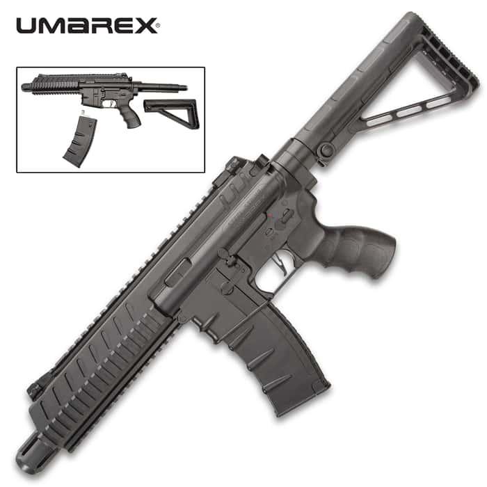 Umarex Steel Strike BB Rifle - .177 Caliber, 400 FPS, Six-Round Burst Mode, Flip-Up Sights, Multi-Position Stock, Drop-Free Magazine