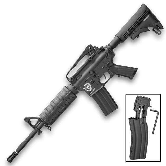 HellBoy M4 CO2 Air Rifle - Semi-Automatic, Full-Metal Construction, Field-Strippable, 18-Round Magazine, Adjustable Stock