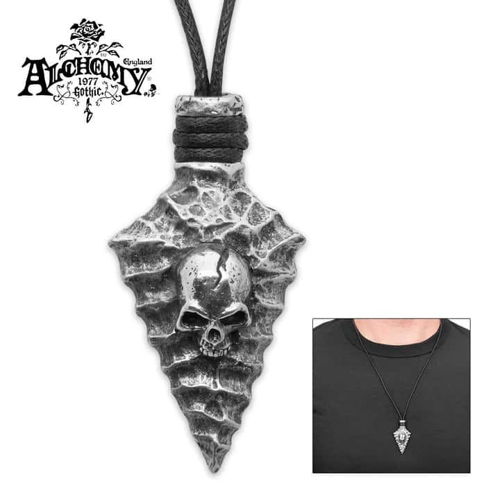 Capitaneus Arrowhead Skull Pewter Necklace