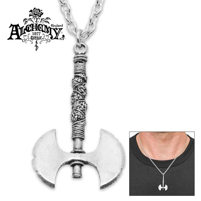 Barbarian Warlord Double-Edged Battle Axe Necklace