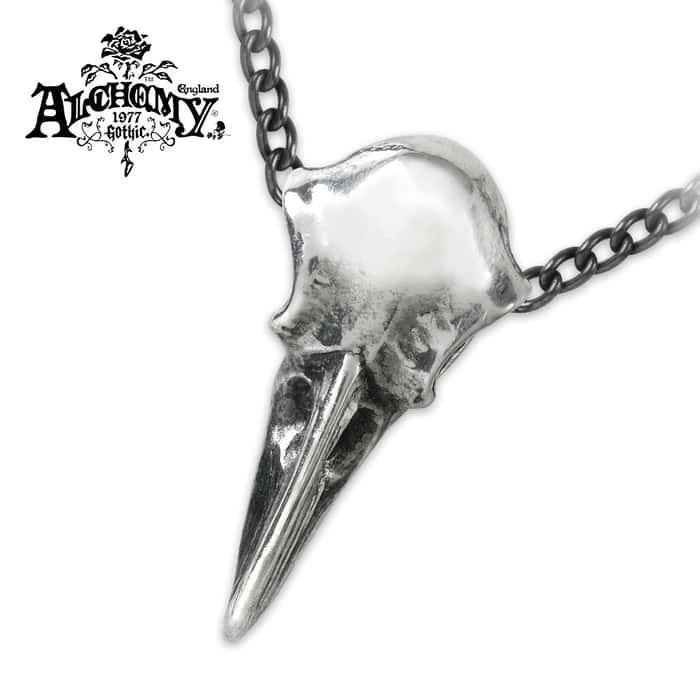 Mini Raven Skull English Pewter Necklace