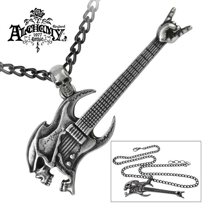 Skull Head Guitar English Pewter Necklace