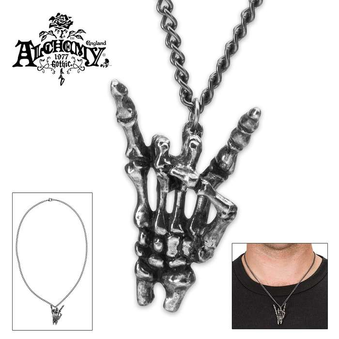 Sign Of The Horns Skeleton Necklace